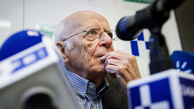 Emilio Lledó, durante la rueda de prensa en Casa del Lector. (EFE)