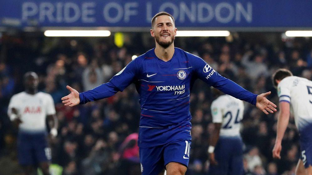 Foto: Eden Hazard celebra un gol con el Chelsea en Stamford Bridge. (EFE)
