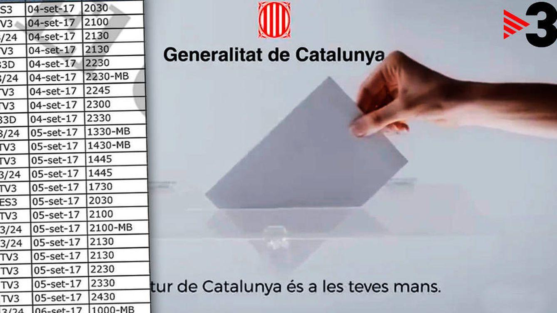 TV3 y Catalunya Ràdio 'bombardearon' a los catalanes con 600 anuncios ilegales del 1-O