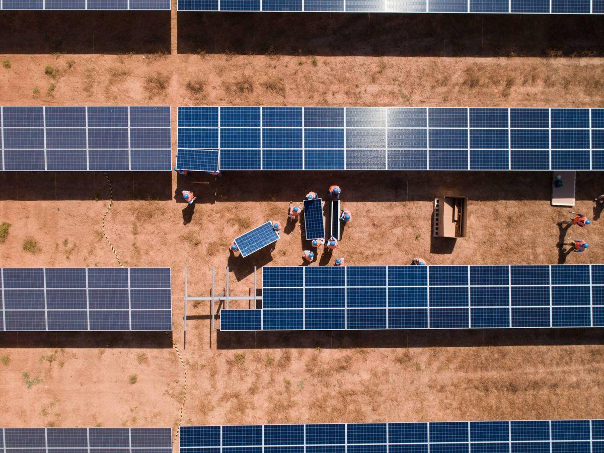 Foto: Construcción de un parque solar fotovoltaico de Prodiel. (Cedida)