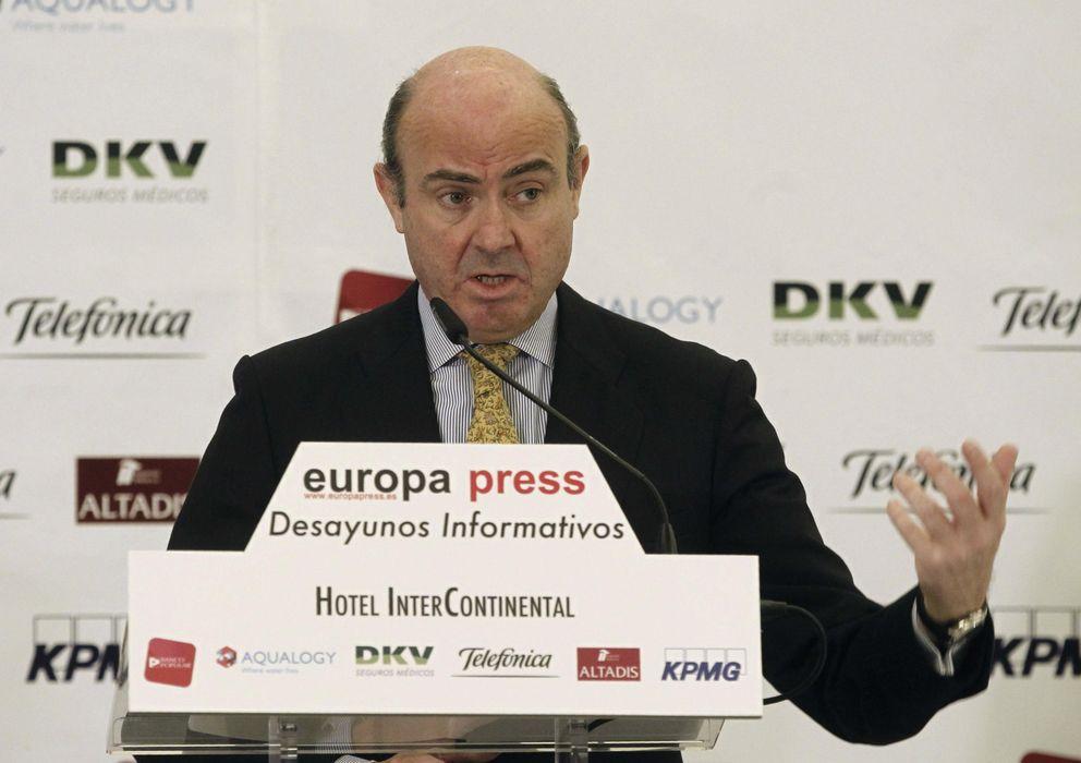 Foto: El ministro de Economía y Competitividad, Luis de Guindos, durante su intervención (Efe)