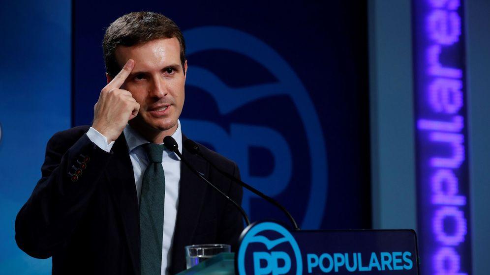 Foto: Pablo Casado durante la rueda de prensa de ayer. (EFE)