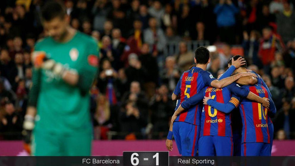 Los meritorios del Sporting salen mal parados ante el poderío de Messi y Suárez