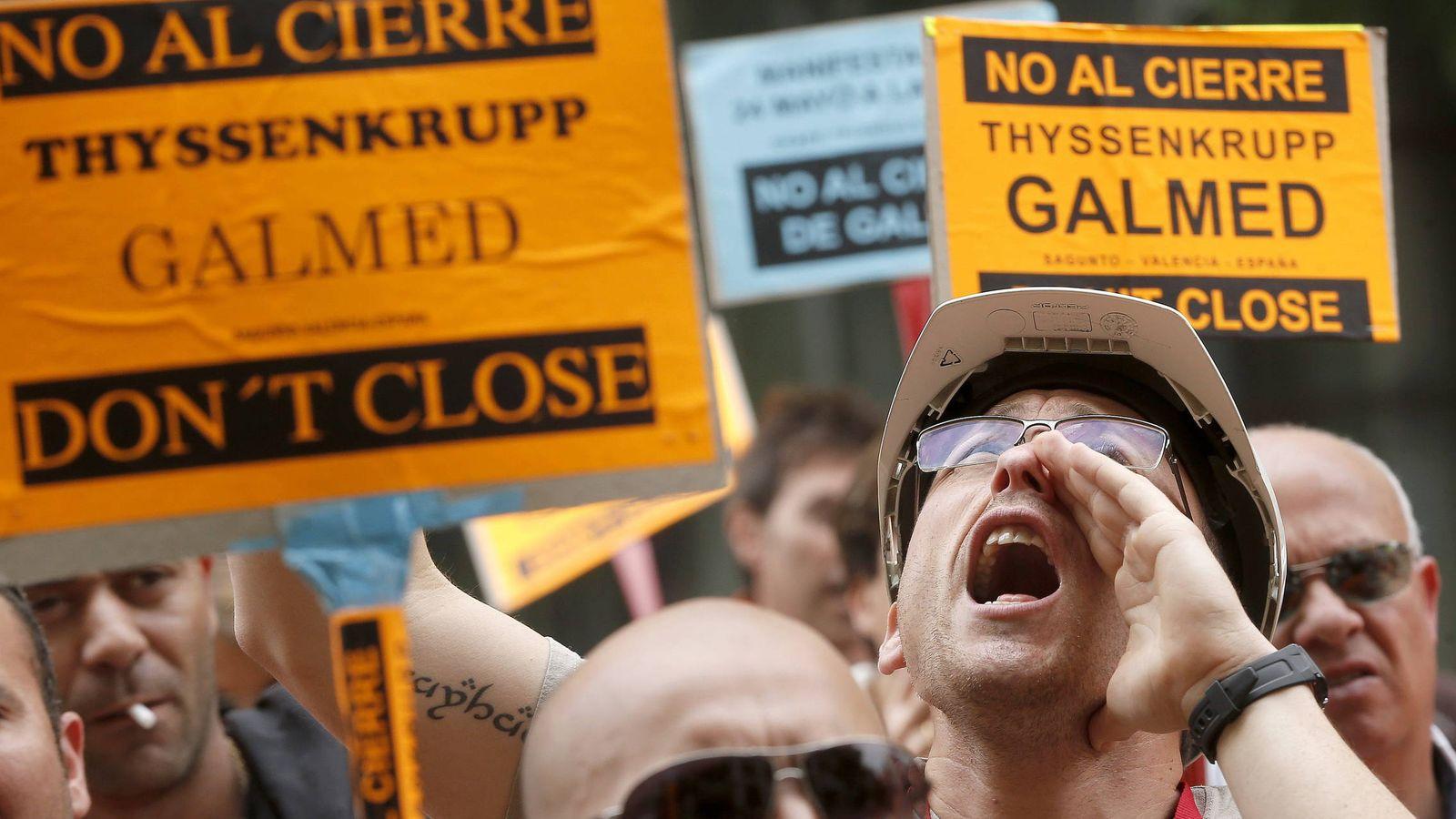 Foto: Trabajadores de Galmed en Sagunt en una protesta en 2013. (Efe)