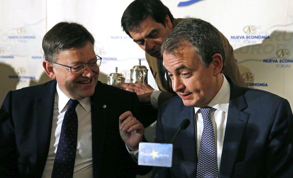 Foto: El presidente de la Generalitat valenciana, Ximo Puig, y José Luis Rodríguez Zapatero, este 5 de abril en el hotel Ritz de Madrid. (EFE)