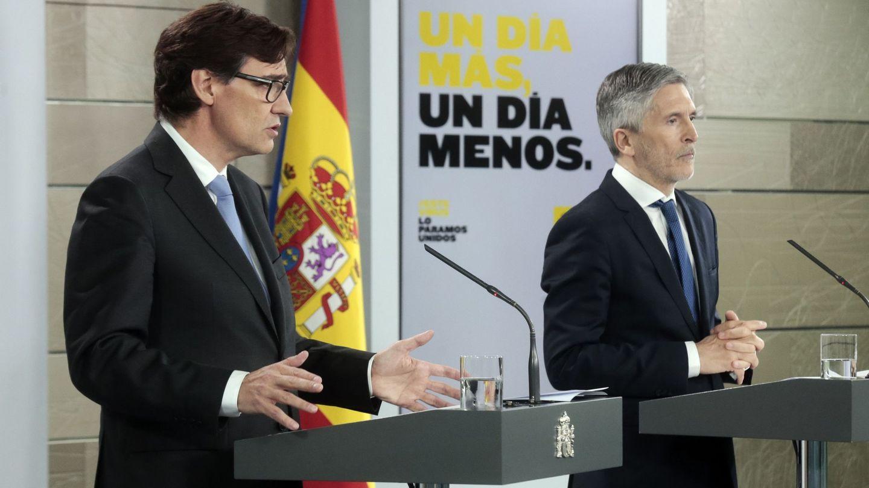 El ministro de Sanidad, Salvador Illa, junto al ministro de Interior, Fernando Grande-Marlaska. (EFE)