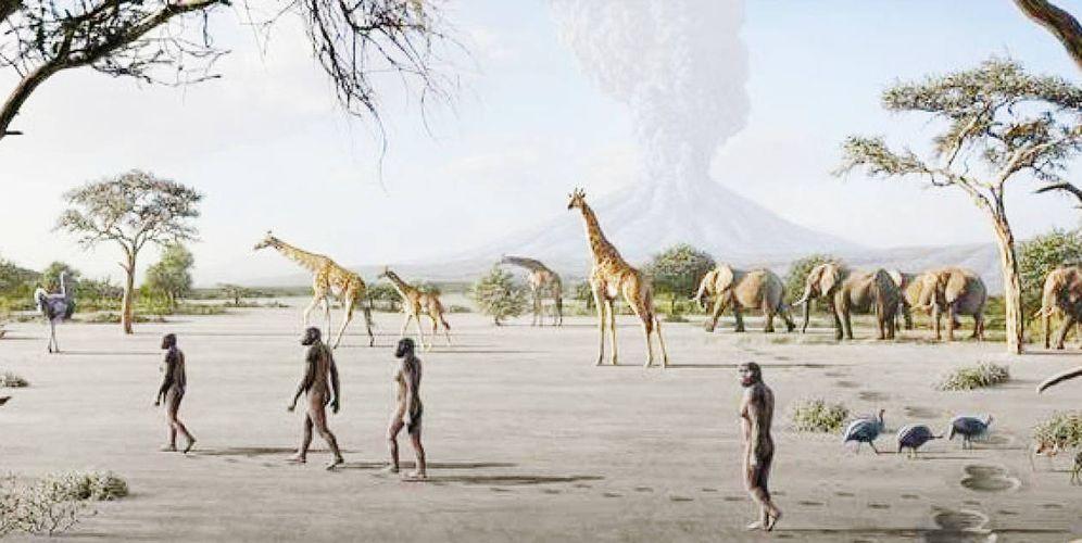 Foto: Recreación de los antecesores de nuestra especie que dejaron sus huellas en Laetoli hace más de tres millones de años