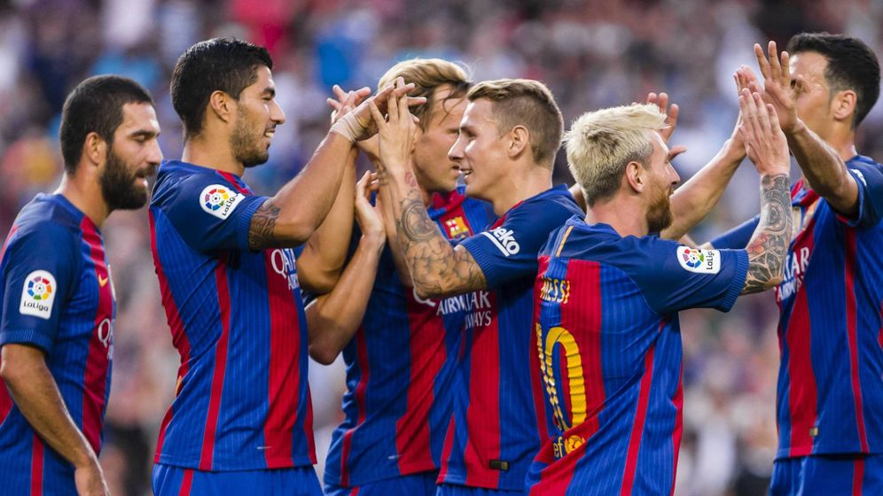 Foto: El Barcelona celebra un gol durante la pretemporada (Cordon Press)