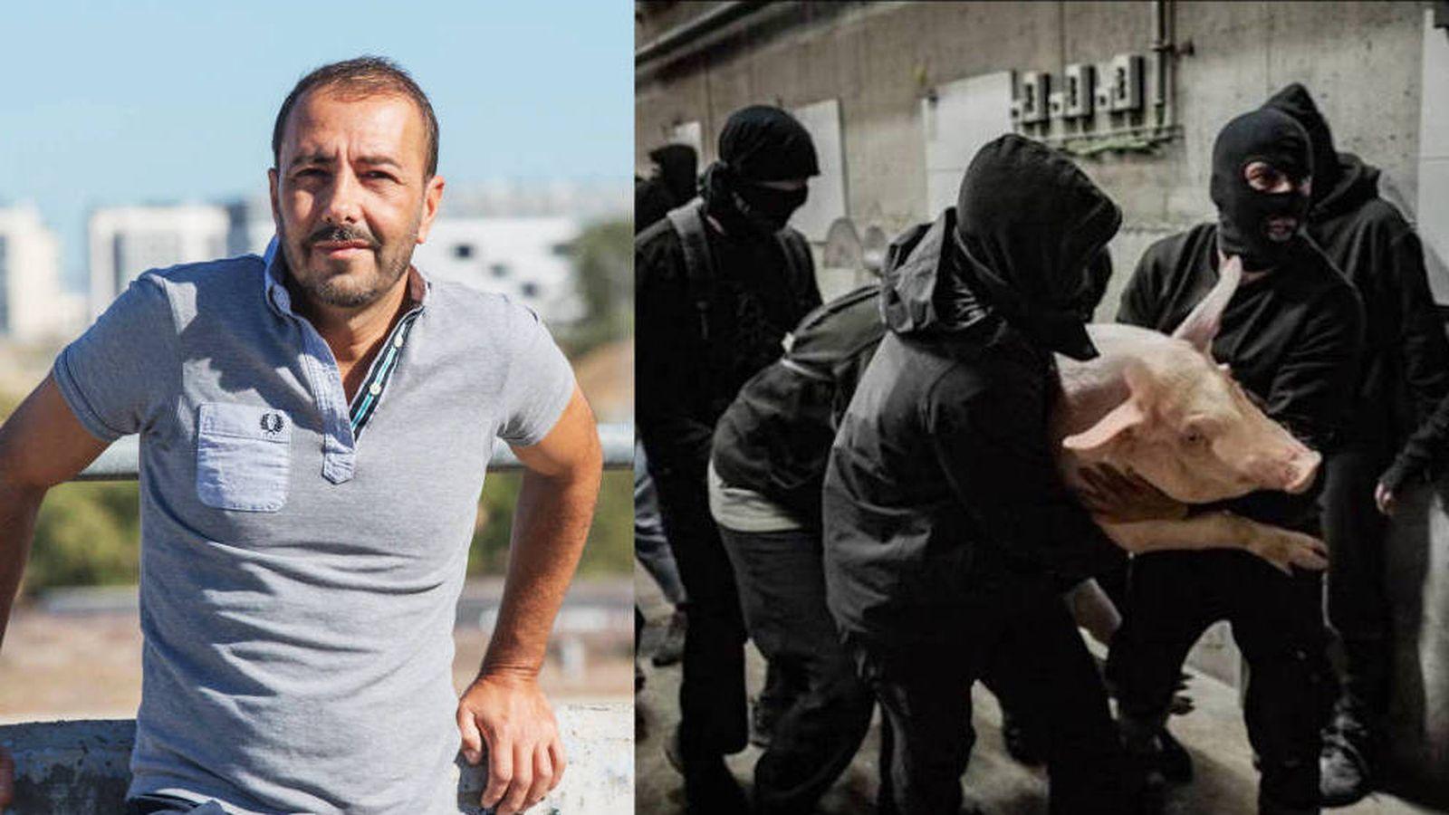 Foto: A la izquierda, el activista Javier Guarascio. A la derecha, asalto animalista a una granja de cerdos