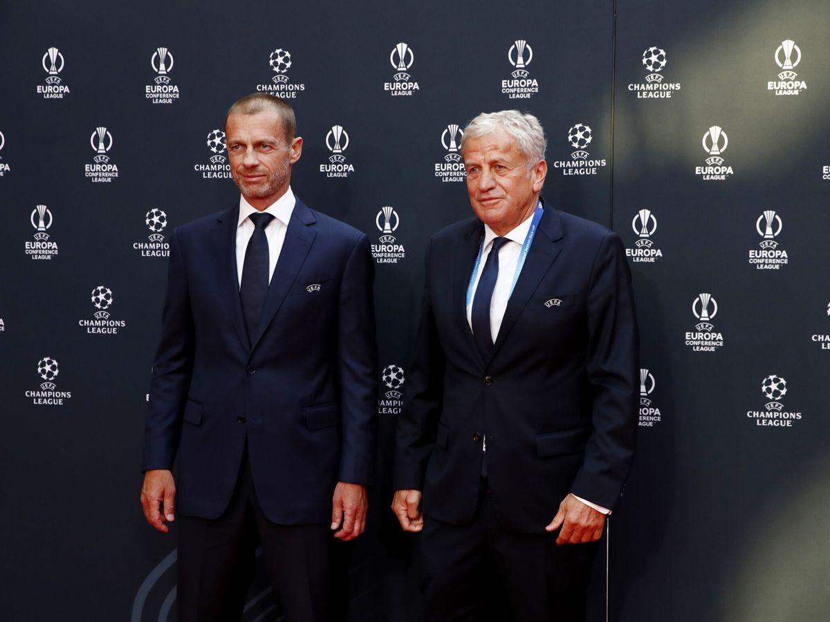 Foto: Ceferin, antes del comienzo del sorteo. (Reuters)