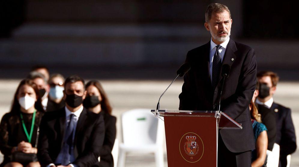 Foto: El Rey, durante su discurso en el homenaje de Estado. (EFE)
