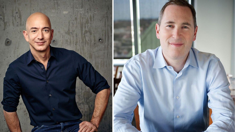 Jeff Bezos y su sucesor, Andy Jassy. (EFE)