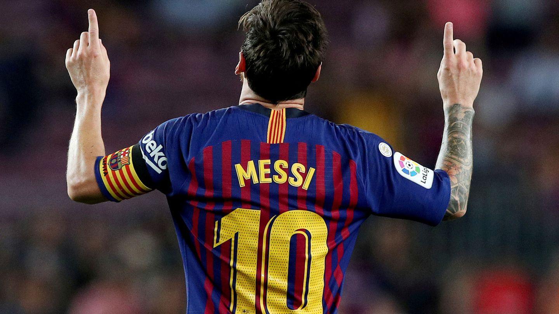 La icónica celebración de Leo Messi. (Reuters)
