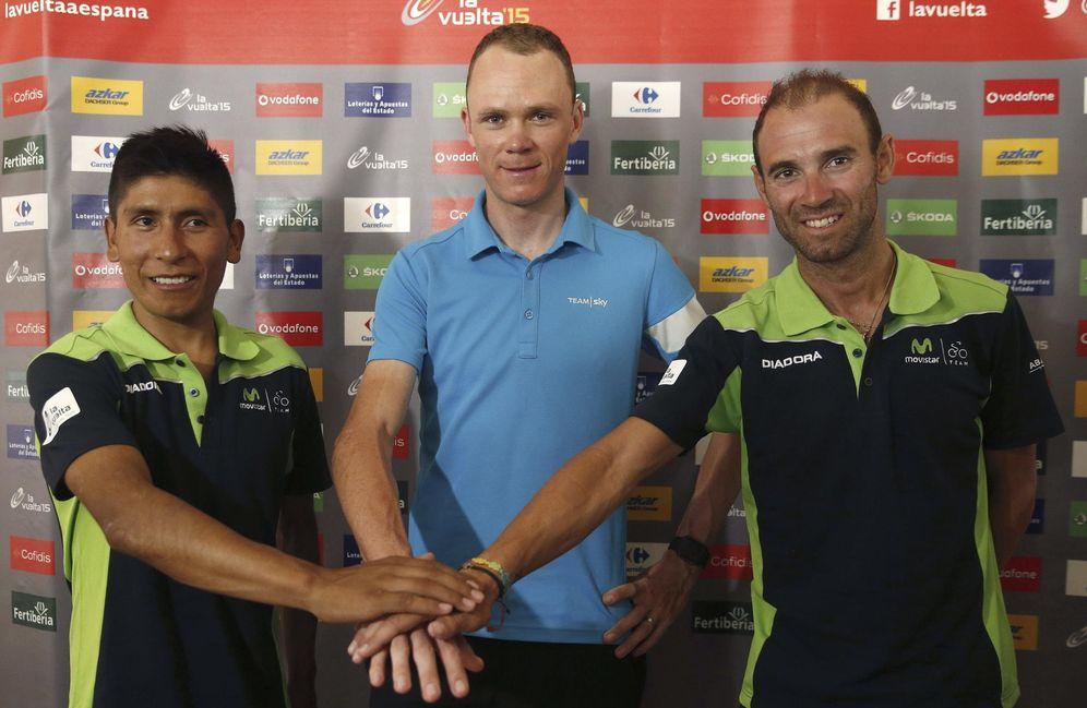 Foto: Los tres grandes favoritos al triunfo: Quintana, Froome y Valverde (EFE).