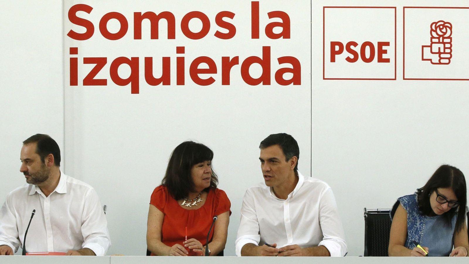 Foto: Pedro Sánchez, esta mañana durante la reunión del plenario de la ejecutiva federal del partido. (EFE)