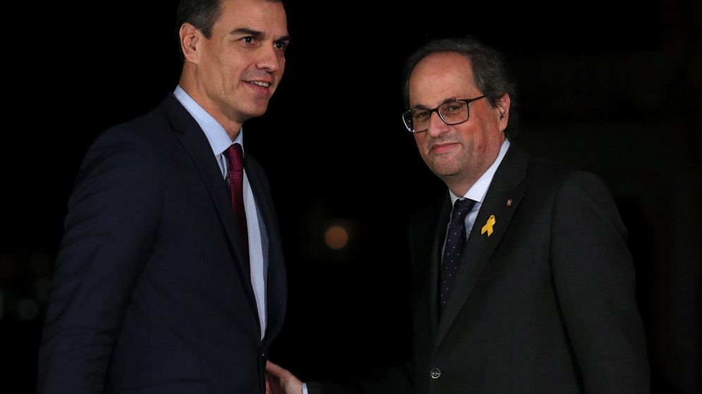 Foto: Pedro Sánchez y Quim Torra, en el Palacio Real de Pedralbes, Barcelona. (Reuters)