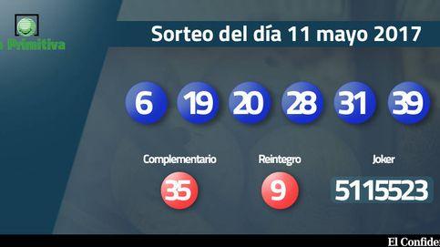Combinación ganadora de la Primitiva del 11 mayo: números 6, 19, 20, 28, 31, 39