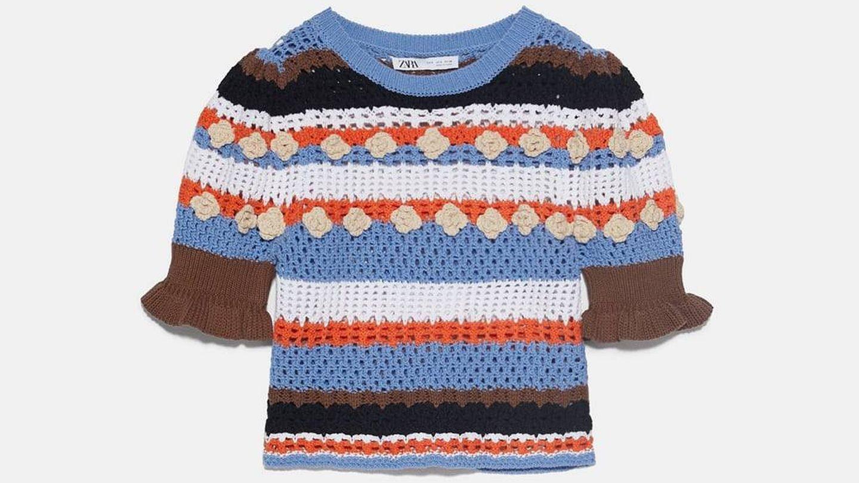 El jersey de croché de Zara. (Cortesía)