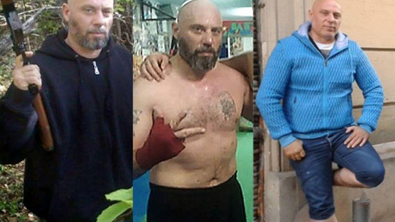 Jivko Ivanov posando en la milicia, en un gimnasio y trabajando para Desokupa. (directa.cat)