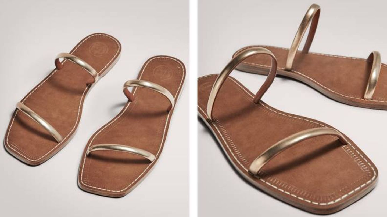 Sandalias doradas de Massimo Dutti. (Cortesía)
