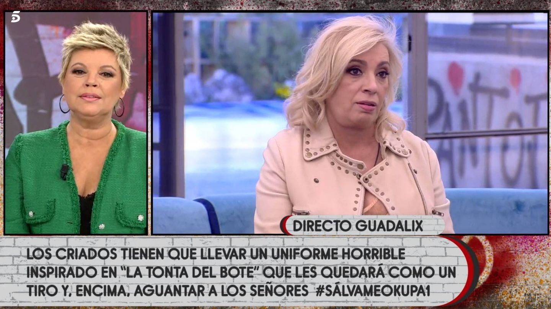 Terelu Campos y Carmen Borrego, en 'Sálvame Okupa'. (Telecinco)