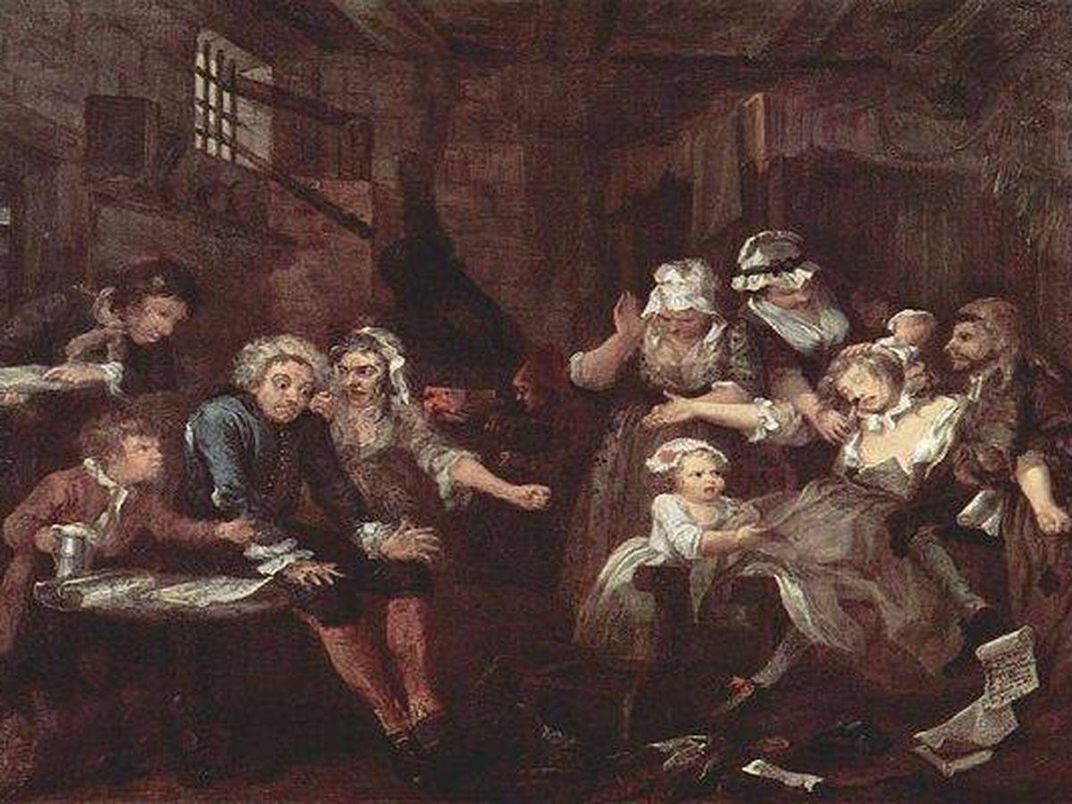 Foto: Pintura del siglo XVIII representando la aglomeración con una familia completa en una prisión. Foto: Wikipedia