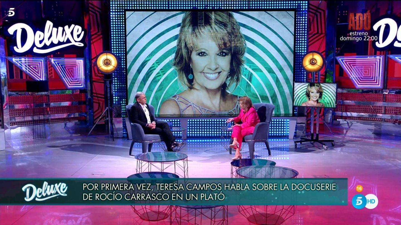 Jorge Javier Vázquez y María Teresa Campos, en 'Deluxe'. (Mediaset)