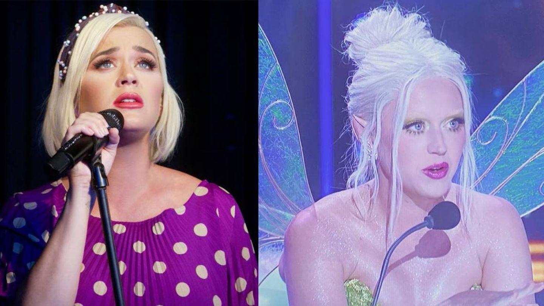 Las cejas naturales de Katy Perry vs. las belached eyebrows. (Getty/Instagram)