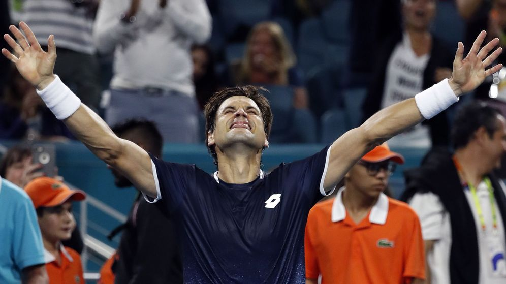 Foto: David Ferrer celebra su triunfo ante Alexander Zverev en el Miami Open. (USA TODAY Sports)