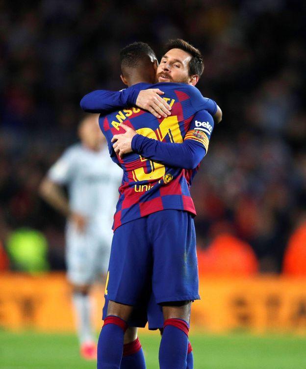 Foto: Leo Messi y Ansu Fati, este domingo en el Camp Nou. (EFE)