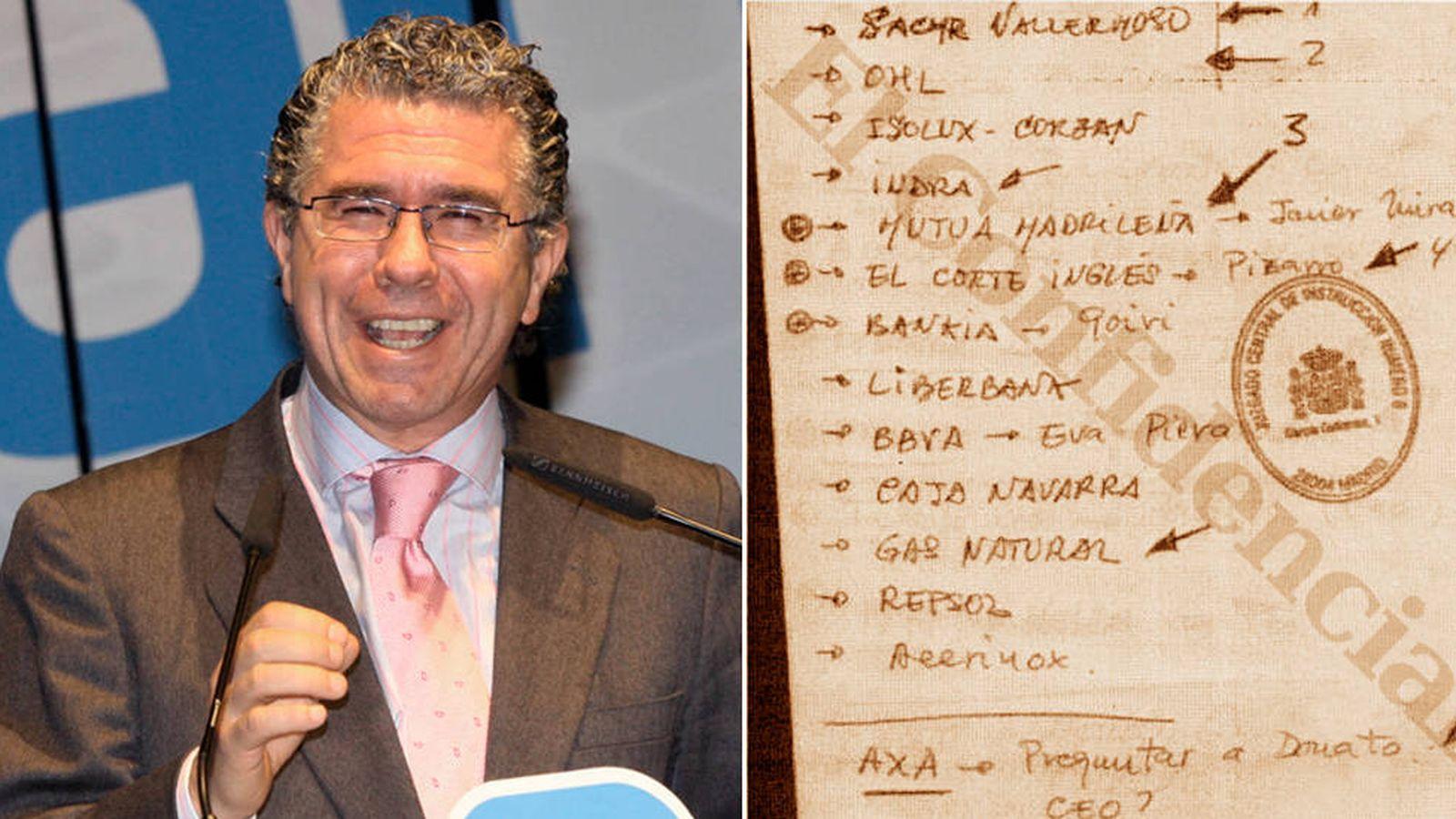 Foto: Francisco Granados y la página de su agenda donde se menciona a 14 empresas. (EC)