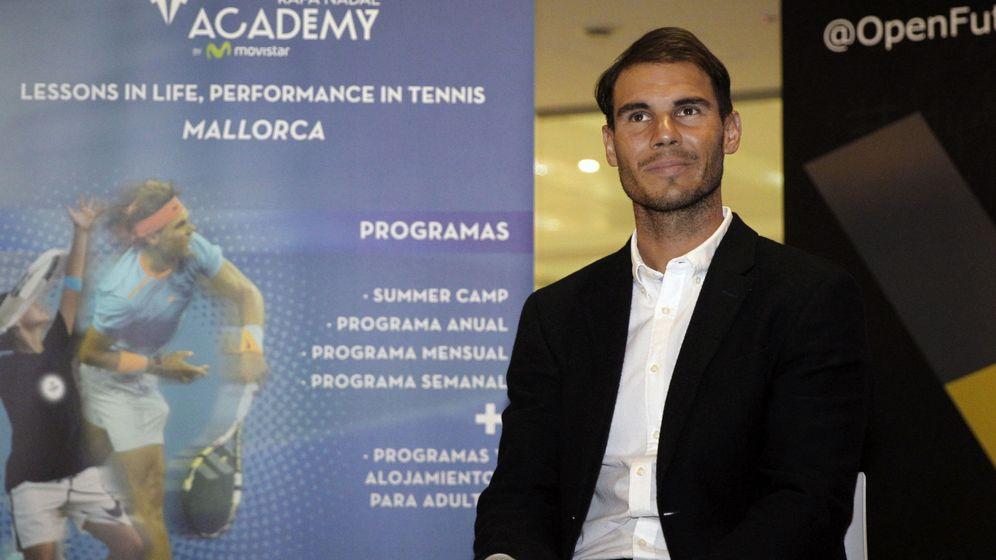 Foto: El tenista, en un acto promocional en la Rafa Nadal Academy de Manacor. (EFE)