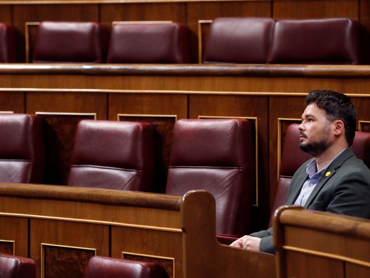 Foto: Gabriel Rufián, portavoz de ERC en el Congreso, el pasado 15 de abril en la Cámara Baja. (EFE)