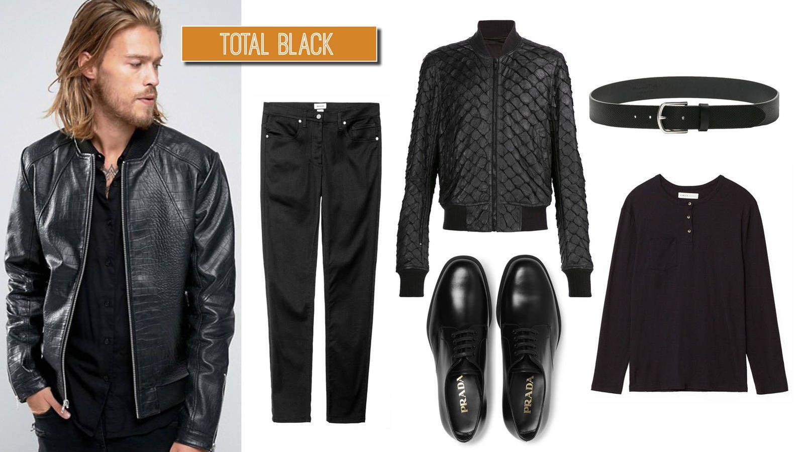 combinar una chaqueta bomber negra hombre