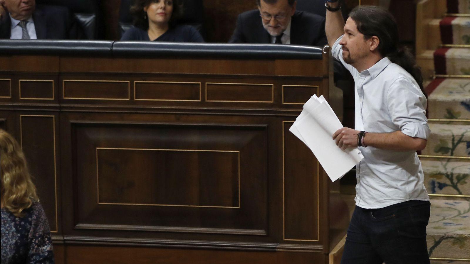 Foto: Pablo Iglesias en la segunda jornada de debate en el Congreso. (EFE)