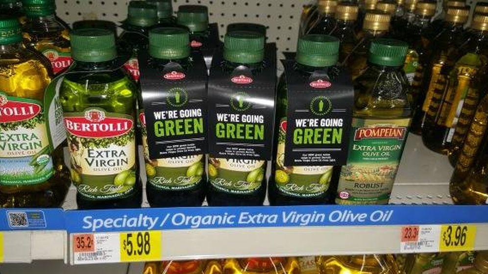 Foto: Aceites de oliva virgen extra en un lineal de EEUU, en una imagen de 2016. (www.groceryshopforfreeatthemart.com)