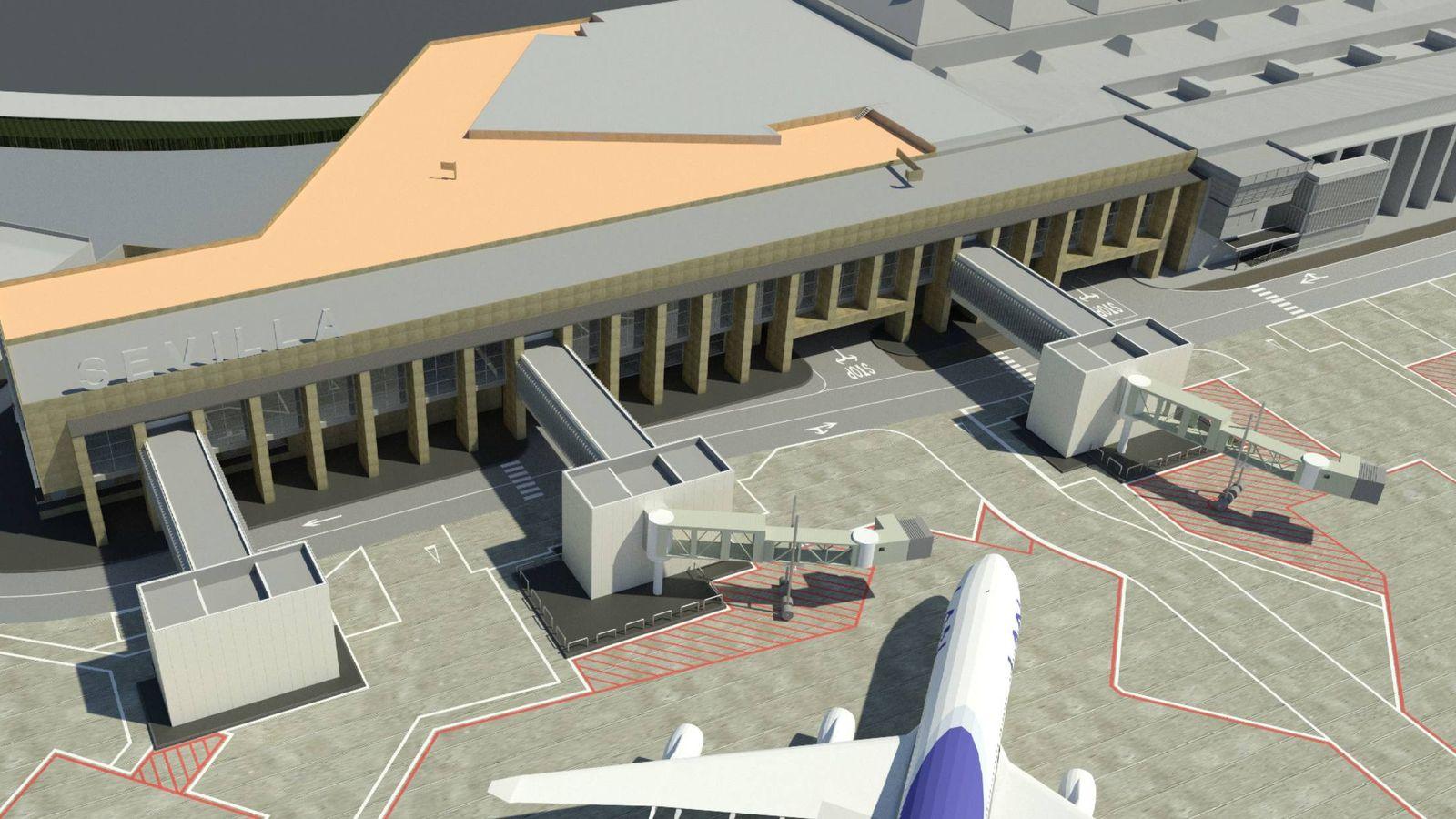 Foto: Simulación de cómo quedará la ampliación de la terminal de Sevilla. (Cemosa)