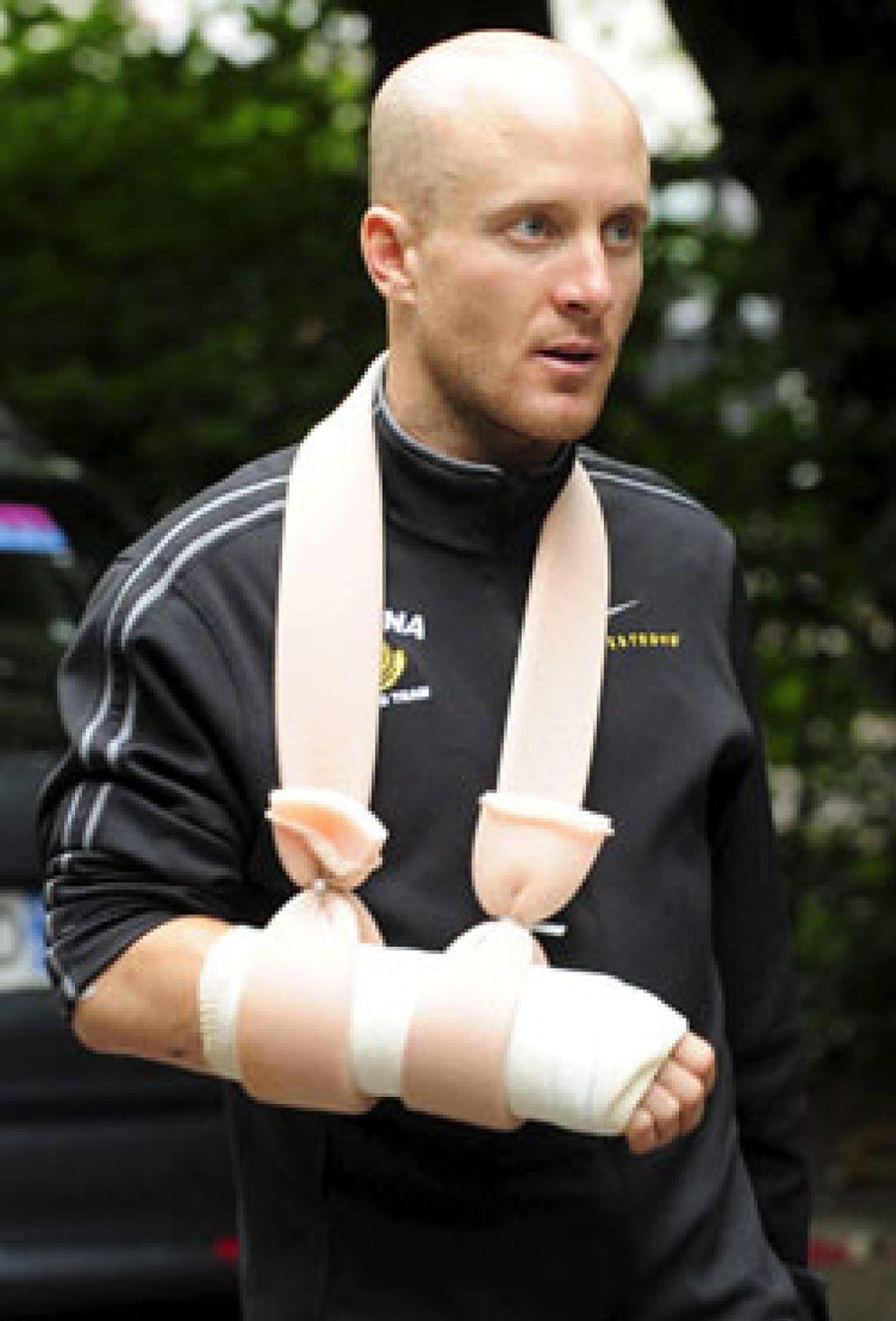 Foto: Leipheimer abandona el Tour por una rotura de muñeca