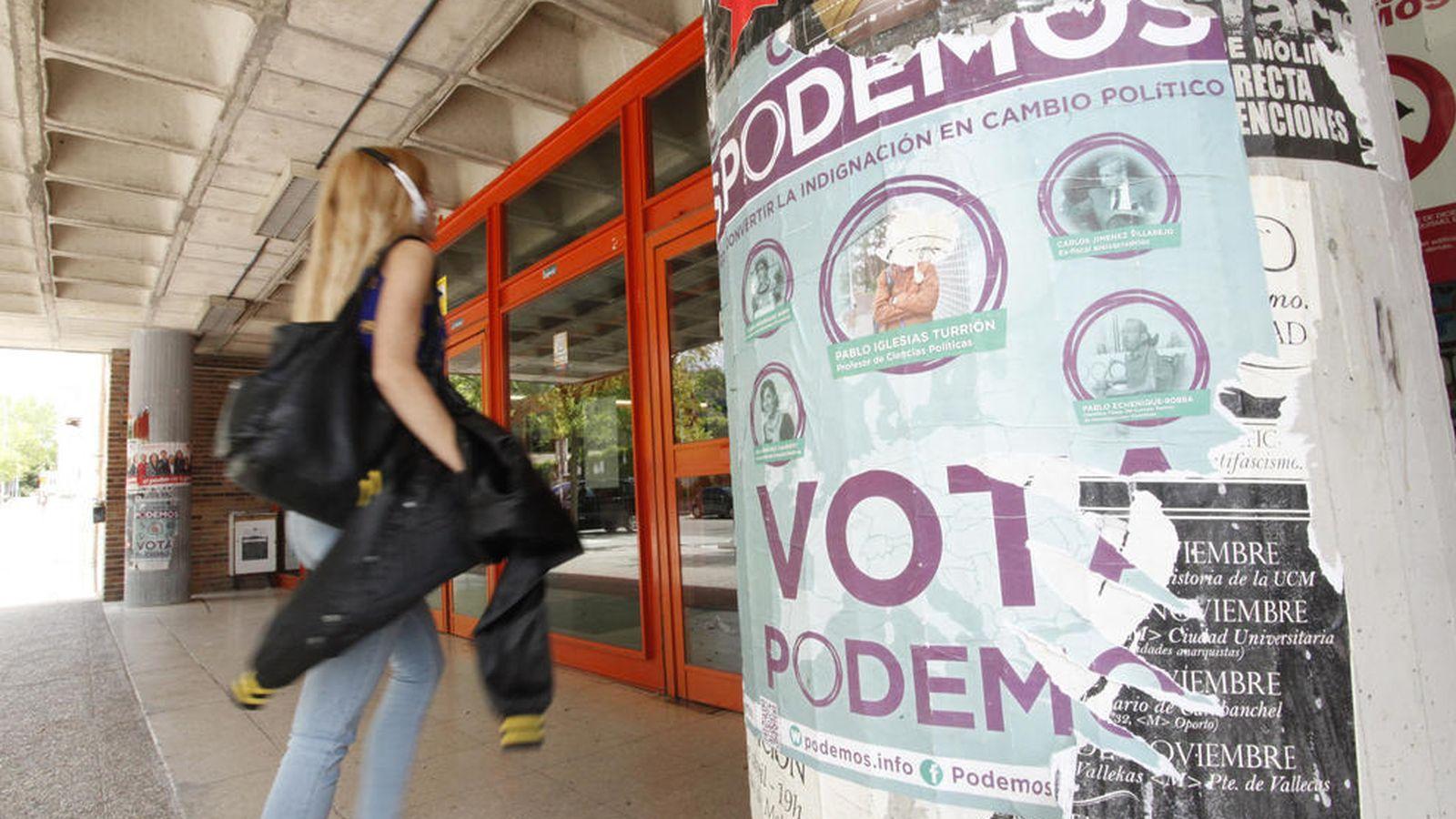 Foto: Carteles de Podemos en el exterior de la Facultad de Ciencias Políticas y Sociología de la UCM (E.Villarino)