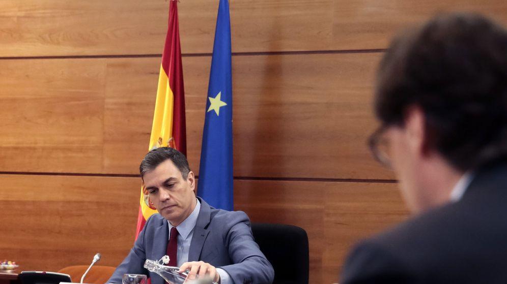 Foto: Pedro Sánchez, durante el Consejo de Ministros telemático de este 19 de mayo. (EFE)