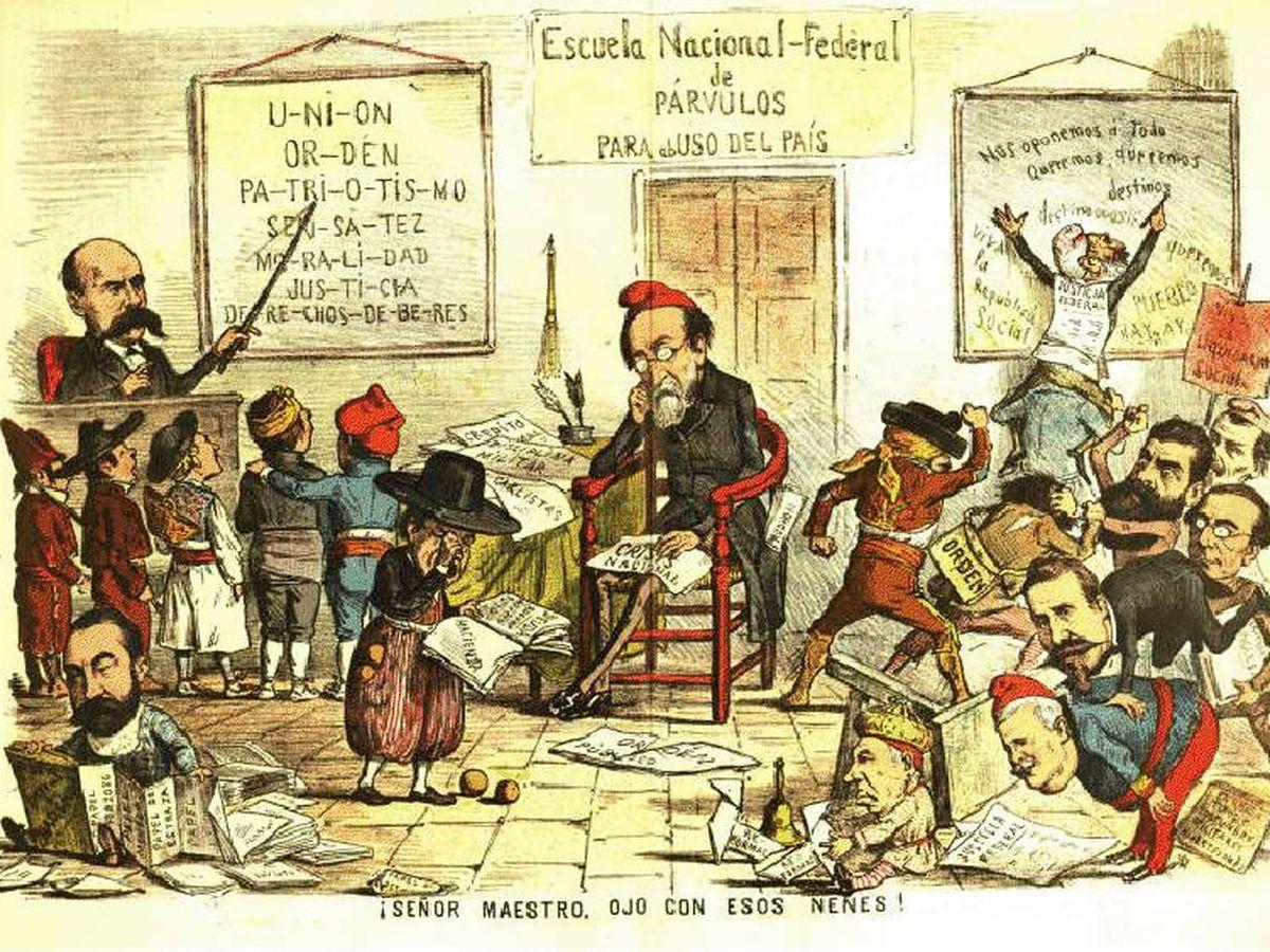 Foto: Caricatura de la Revista 'La Flaca' sobre la Primera República.