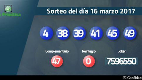 Resultados de la Primitiva del 16 marzo 2017: números 4, 38, 39, 41, 45, 49
