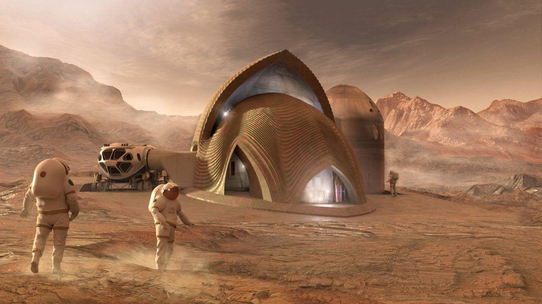 Foto: Los primeros colonos de Marte podrían tener que usar su sangre para construir sus alojamientos. (SEArch /Apis/NASA)