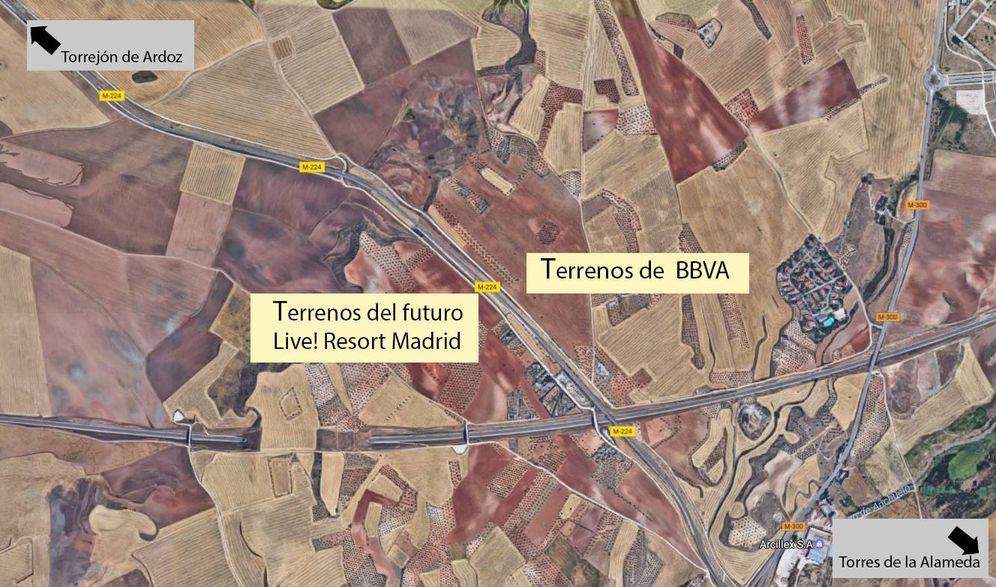 Foto: BBVA es uno de los grandes terratenientes alrededor del futuro Live! Resort Madrid.
