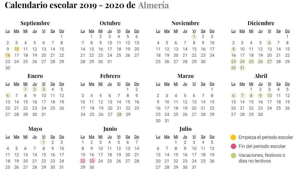 Foto: Calendario escolar 2019-2020 Almería (El Confidencial)