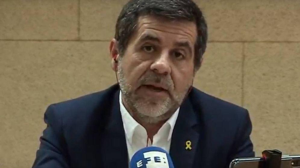 Foto: Jordi Sànchez, en su rueda de prensa desde la cárcel de Soto del Real. (EFE)