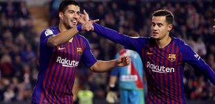 Post de Luis Suárez ocupa el vacío de Messi que Coutinho no ayuda a llenar