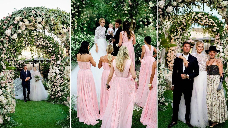De izquierda a derecha: la novia camina del brazo de su padre hacia el altar, los esposos junto a su hijo Leone y las damas de honor, y junto a una de sus invitadas. (David Bastianoni/Cortesía de Dior)