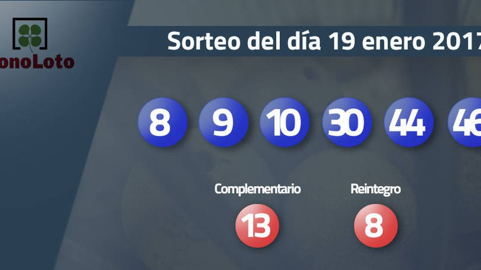 Resultados del sorteo de la Bonoloto del 19 enero 2017: números 8, 9, 10, 30, 44, 46