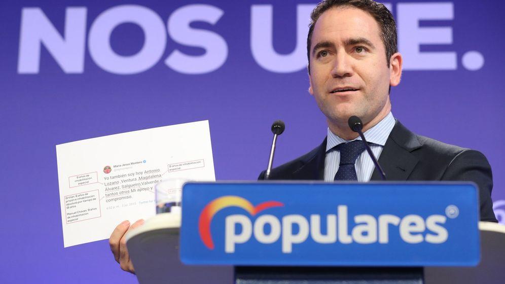 Foto: El secretario general del Partido Popular, Teodoro García Egea, durante su comparecencia ante los medios tras la reunión del Comité de Dirección del Partido Popular. (EFE)